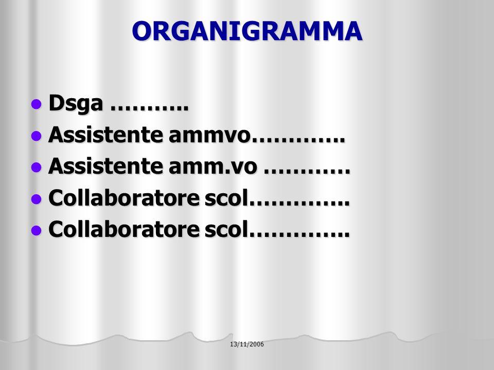 13/11/2006 ORGANIGRAMMA Dsga ……….. Dsga ……….. Assistente ammvo………….