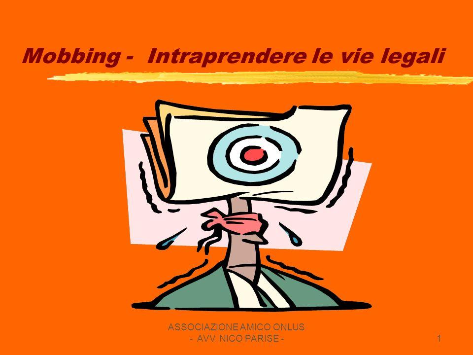 ASSOCIAZIONE AMICO ONLUS - AVV. NICO PARISE -1 Mobbing - Intraprendere le vie legali