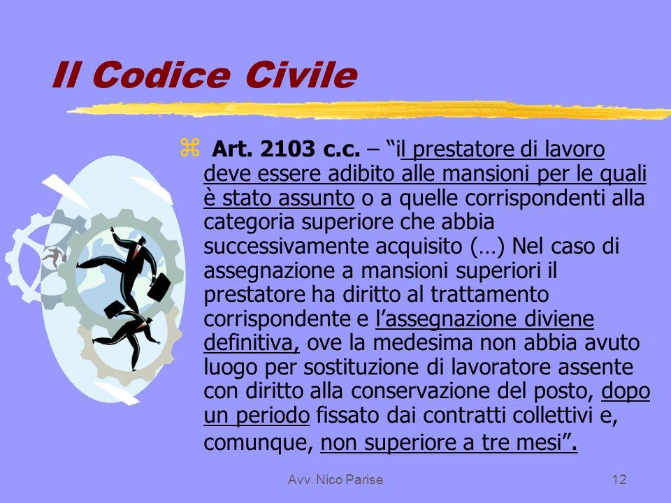 Avv. Nico Parise12 Il Codice Civile z Art. 2103 c.c. – il prestatore di lavoro deve essere adibito alle mansioni per le quali è stato assunto o a quel
