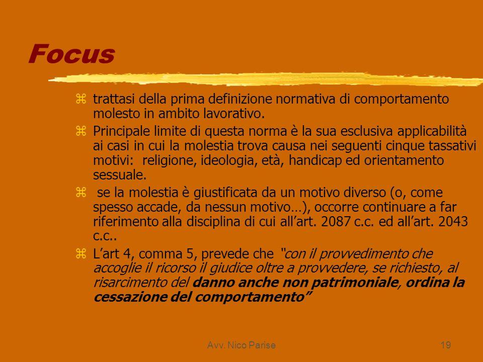 Avv. Nico Parise19 Focus ztrattasi della prima definizione normativa di comportamento molesto in ambito lavorativo. zPrincipale limite di questa norma