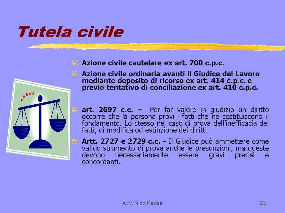 Avv. Nico Parise23 Tutela civile zAzione civile cautelare ex art. 700 c.p.c. zAzione civile ordinaria avanti il Giudice del Lavoro mediante deposito d