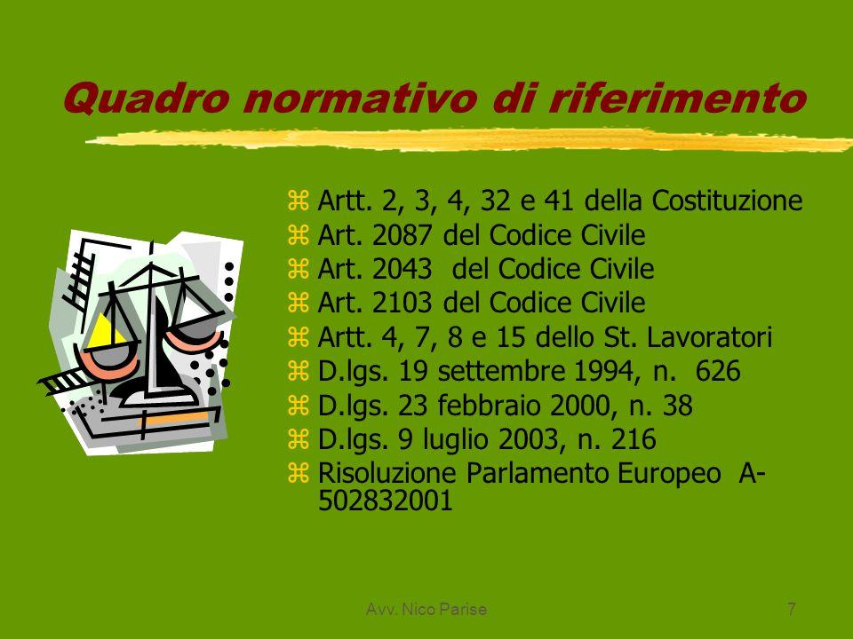 Avv. Nico Parise7 Quadro normativo di riferimento zArtt. 2, 3, 4, 32 e 41 della Costituzione zArt. 2087 del Codice Civile zArt. 2043 del Codice Civile