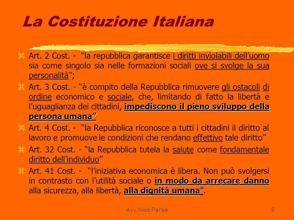 Avv. Nico Parise8 La Costituzione Italiana zArt. 2 Cost. - la repubblica garantisce i diritti inviolabili delluomo sia come singolo sia nelle formazio