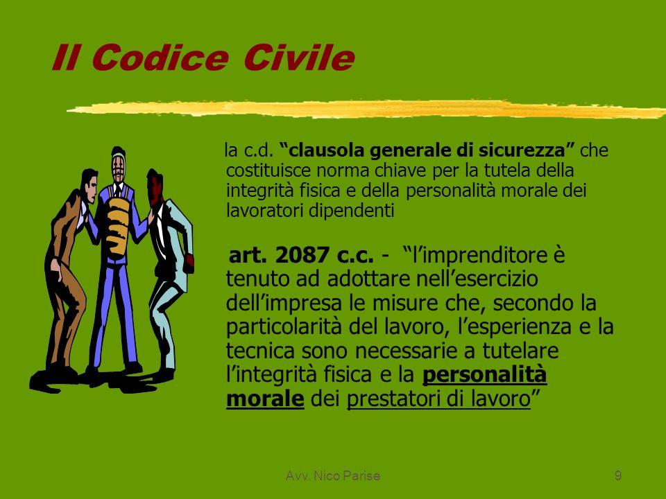 Avv. Nico Parise9 Il Codice Civile la c.d. clausola generale di sicurezza che costituisce norma chiave per la tutela della integrità fisica e della pe
