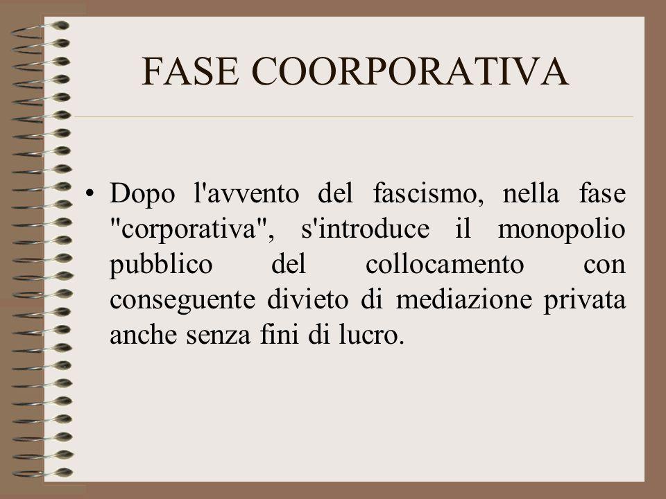 FASE COORPORATIVA Dopo l avvento del fascismo, nella fase corporativa , s introduce il monopolio pubblico del collocamento con conseguente divieto di mediazione privata anche senza fini di lucro.