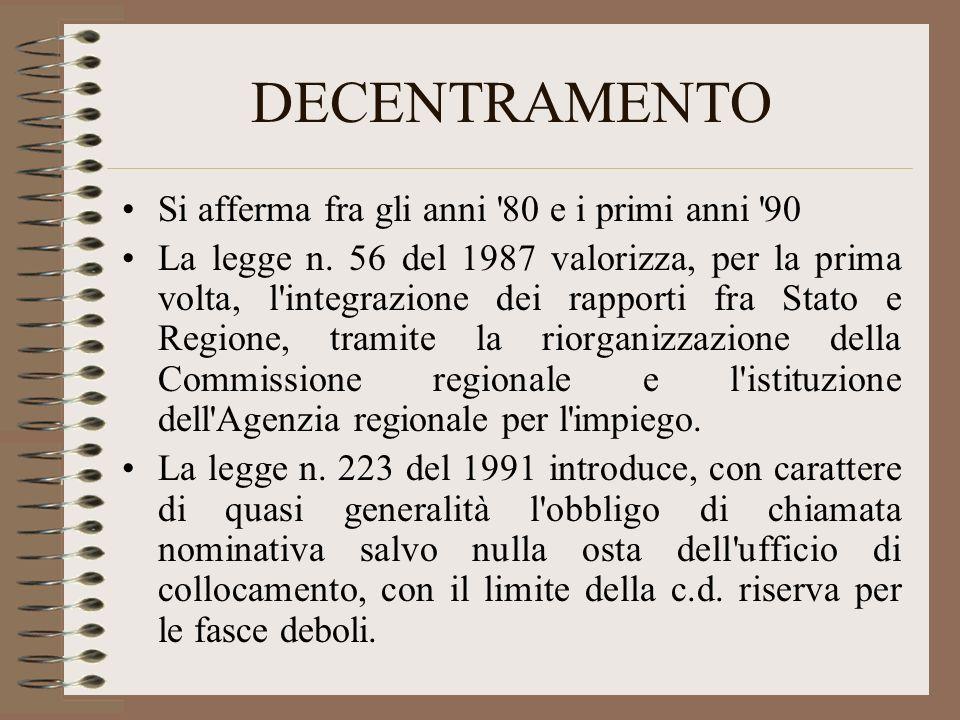 DECENTRAMENTO Si afferma fra gli anni '80 e i primi anni '90 La legge n. 56 del 1987 valorizza, per la prima volta, l'integrazione dei rapporti fra St