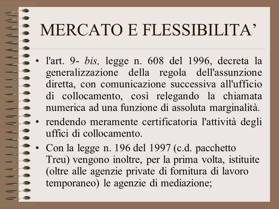 MERCATO E FLESSIBILITA l'art. 9- bis, legge n. 608 del 1996, decreta la generalizzazione della regola dell'assunzione diretta, con comunicazione succe