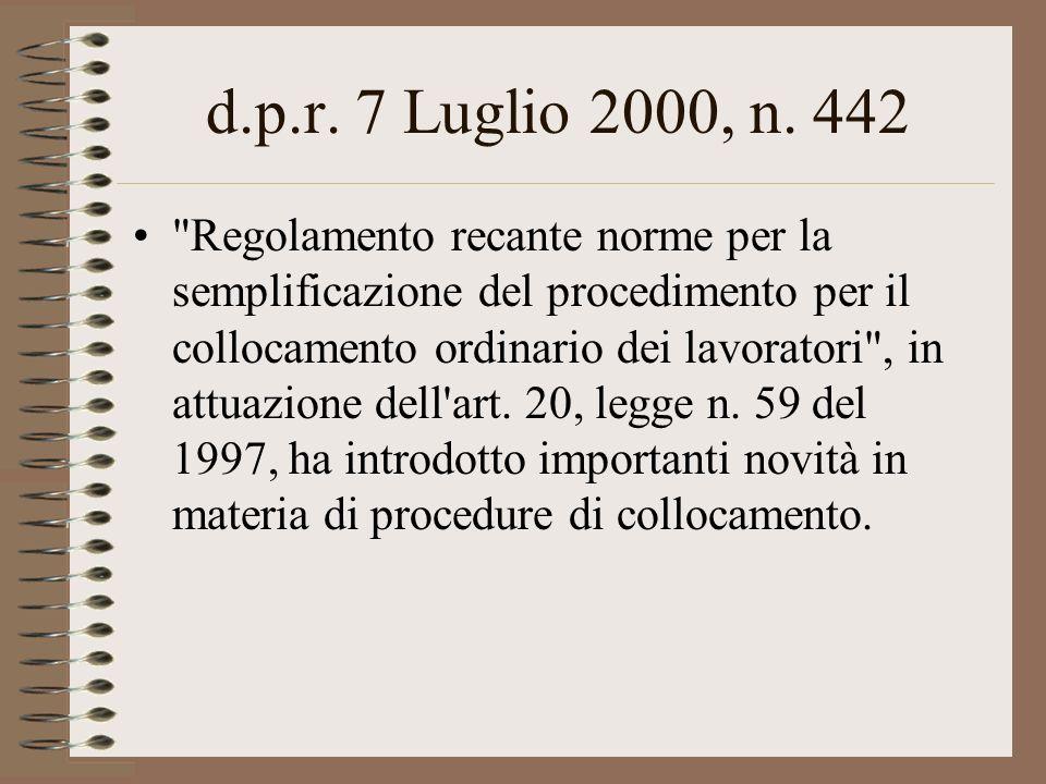 d.p.r. 7 Luglio 2000, n. 442