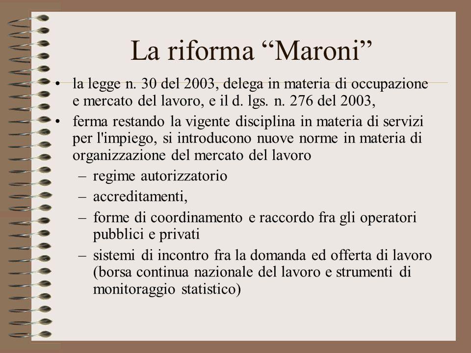 La riforma Maroni la legge n. 30 del 2003, delega in materia di occupazione e mercato del lavoro, e il d. lgs. n. 276 del 2003, ferma restando la vige
