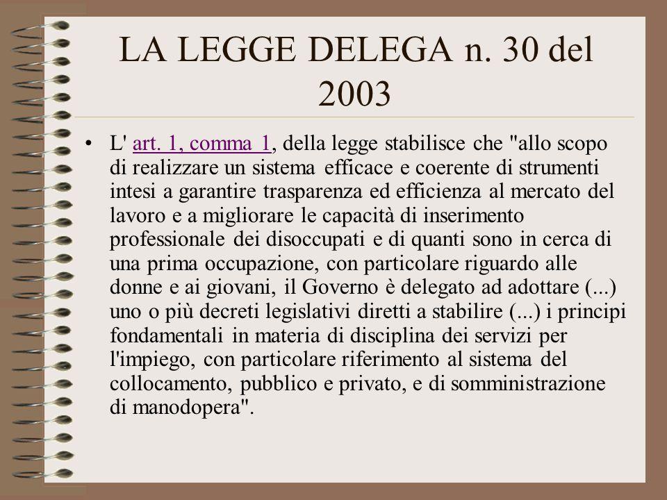 LA LEGGE DELEGA n. 30 del 2003 L' art. 1, comma 1, della legge stabilisce che
