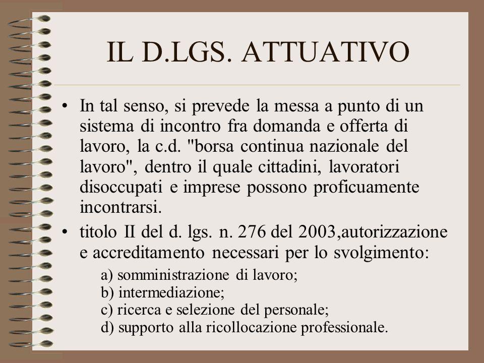 IL D.LGS. ATTUATIVO In tal senso, si prevede la messa a punto di un sistema di incontro fra domanda e offerta di lavoro, la c.d.