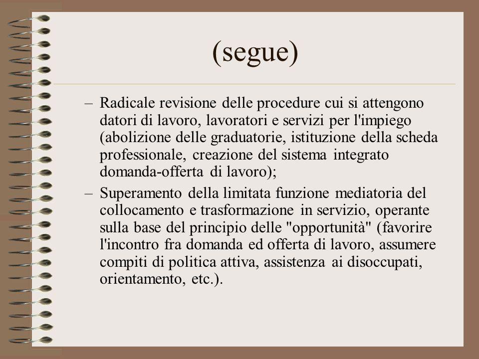 (segue) –Radicale revisione delle procedure cui si attengono datori di lavoro, lavoratori e servizi per l'impiego (abolizione delle graduatorie, istit