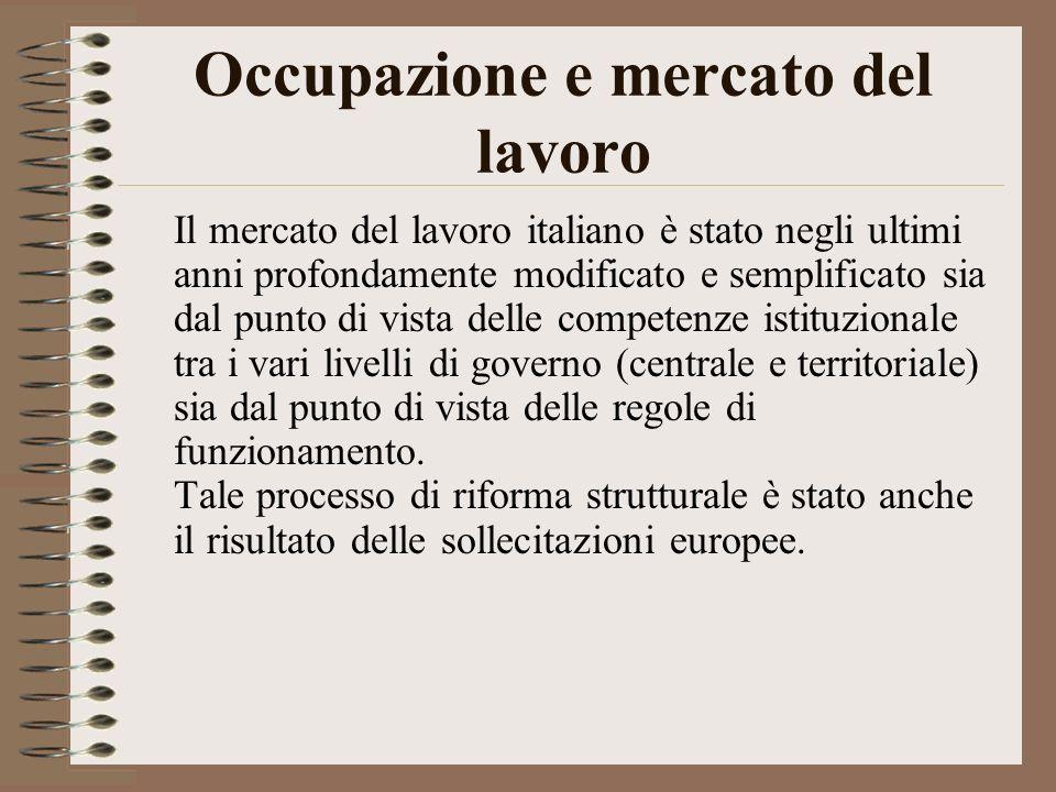 Occupazione e mercato del lavoro Il mercato del lavoro italiano è stato negli ultimi anni profondamente modificato e semplificato sia dal punto di vista delle competenze istituzionale tra i vari livelli di governo (centrale e territoriale) sia dal punto di vista delle regole di funzionamento.