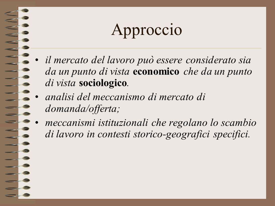 Approccio il mercato del lavoro può essere considerato sia da un punto di vista economico che da un punto di vista sociologico.