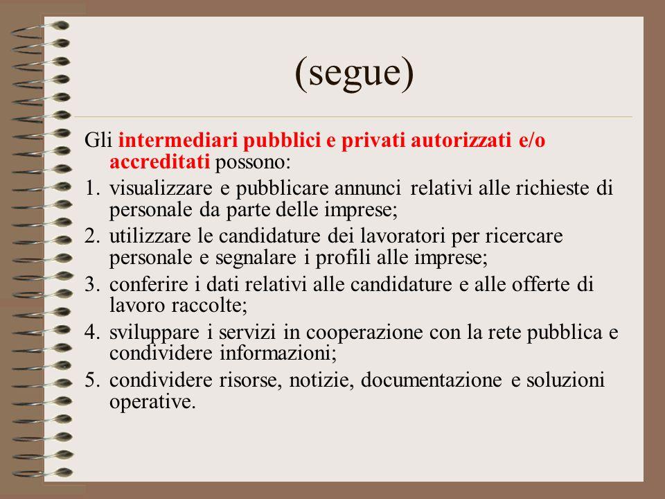 (segue) Gli intermediari pubblici e privati autorizzati e/o accreditati possono: 1.visualizzare e pubblicare annunci relativi alle richieste di person