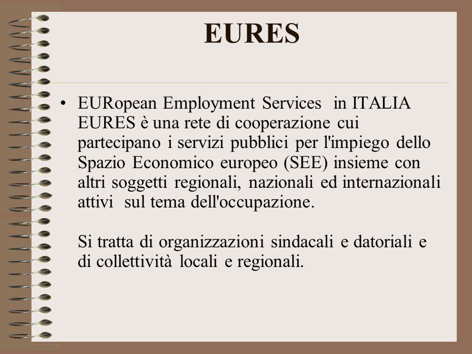 EURES EURopean Employment Services in ITALIA EURES è una rete di cooperazione cui partecipano i servizi pubblici per l impiego dello Spazio Economico europeo (SEE) insieme con altri soggetti regionali, nazionali ed internazionali attivi sul tema dell occupazione.