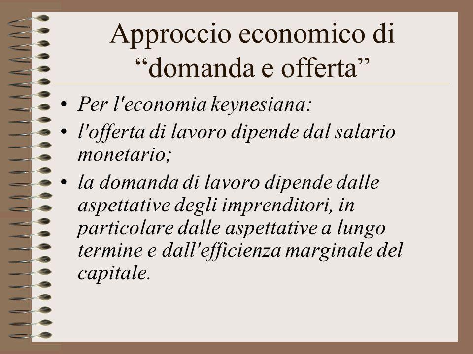 Approccio economico di domanda e offerta Per l economia keynesiana: l offerta di lavoro dipende dal salario monetario; la domanda di lavoro dipende dalle aspettative degli imprenditori, in particolare dalle aspettative a lungo termine e dall efficienza marginale del capitale.