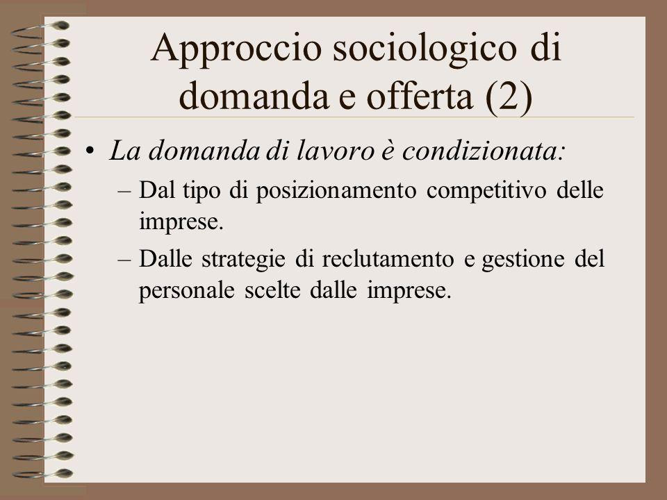Approccio sociologico di domanda e offerta (2) La domanda di lavoro è condizionata: –Dal tipo di posizionamento competitivo delle imprese. –Dalle stra