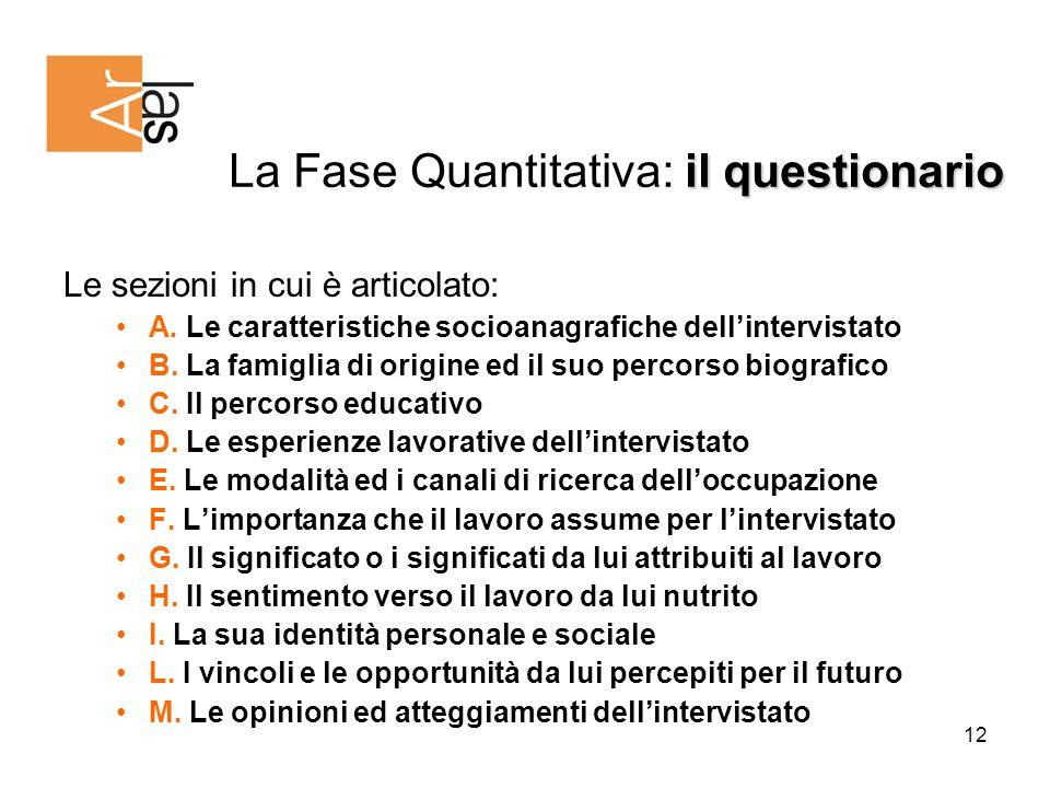 12 il questionario La Fase Quantitativa: il questionario Le sezioni in cui è articolato: A.