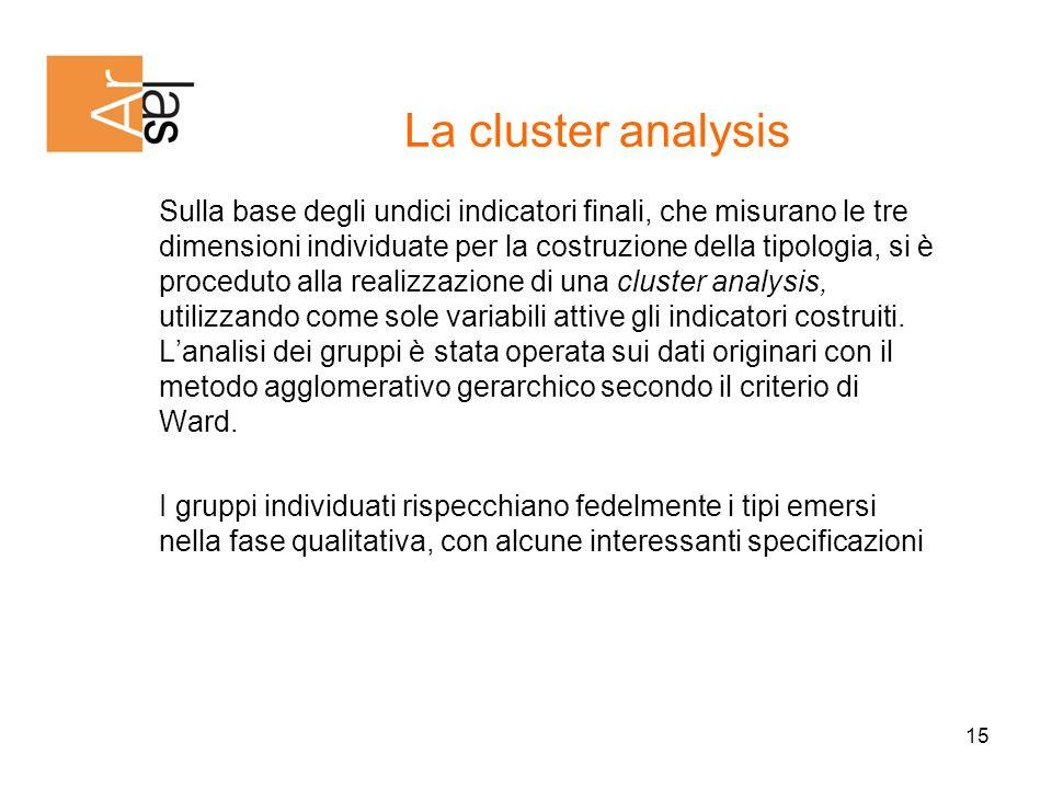 15 Sulla base degli undici indicatori finali, che misurano le tre dimensioni individuate per la costruzione della tipologia, si è proceduto alla realizzazione di una cluster analysis, utilizzando come sole variabili attive gli indicatori costruiti.