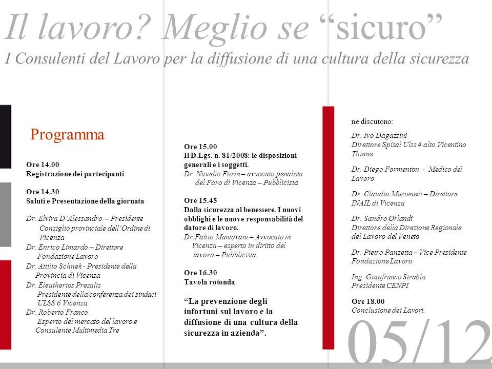 Ore 14.00 Registrazione dei partecipanti Ore 14.30 Saluti e Presentazione della giornata Dr. Elvira DAlessandro – Presidente Consiglio provinciale del