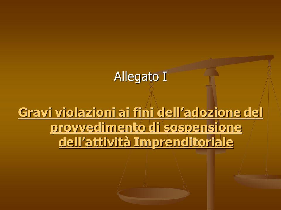 Allegato I Gravi violazioni ai fini delladozione del provvedimento di sospensione dellattività Imprenditoriale Gravi violazioni ai fini delladozione del provvedimento di sospensione dellattività Imprenditoriale