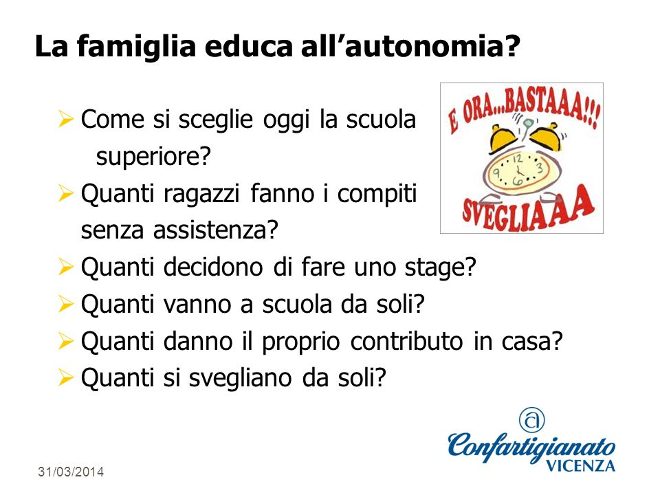 31/03/2014 La famiglia educa allautonomia. Come si sceglie oggi la scuola superiore.