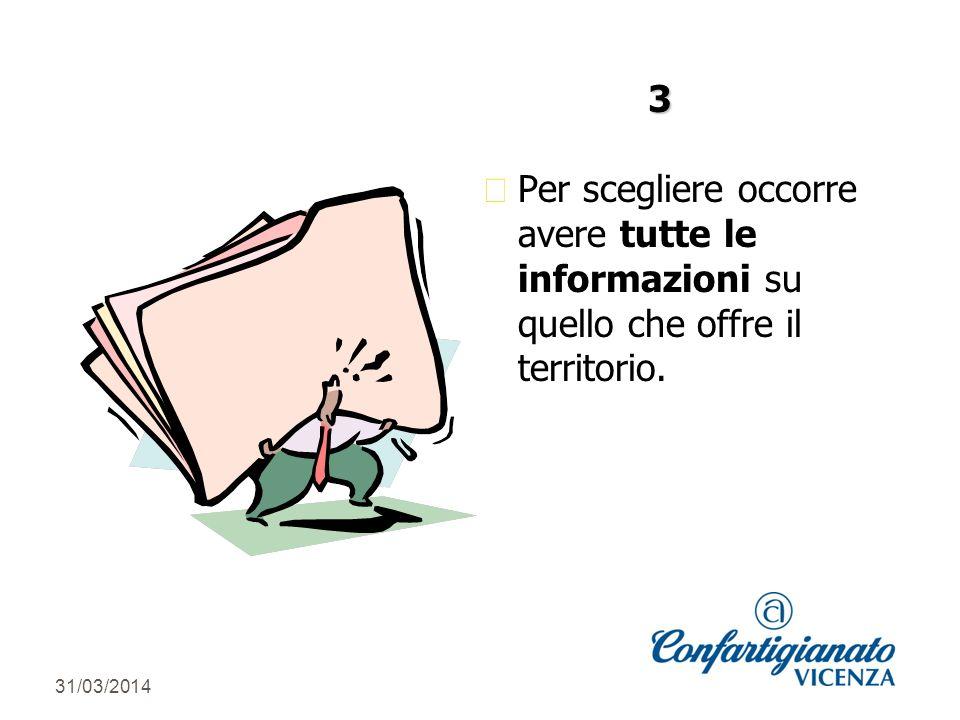 31/03/2014 z Per scegliere occorre avere tutte le informazioni su quello che offre il territorio. 3