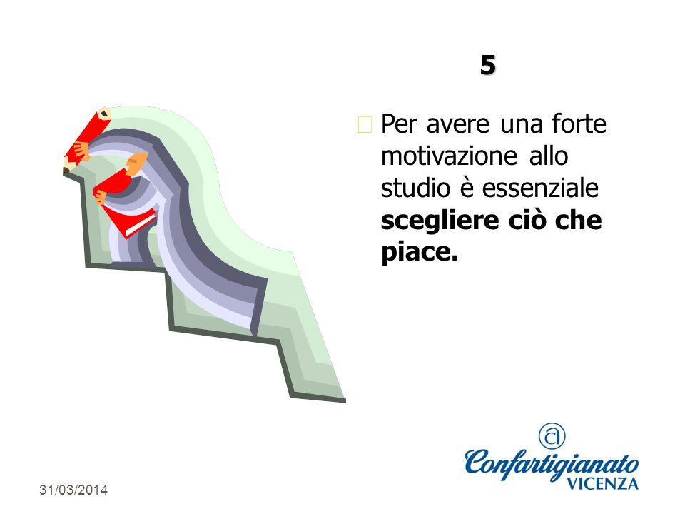 31/03/2014 zPer avere una forte motivazione allo studio è essenziale scegliere ciò che piace. 5