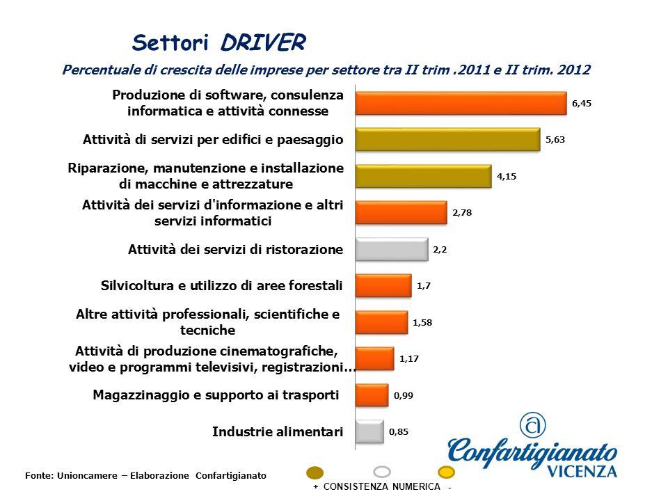 Settori DRIVER Fonte: Unioncamere – Elaborazione Confartigianato + CONSISTENZA NUMERICA - Percentuale di crescita delle imprese per settore tra II trim.2011 e II trim.