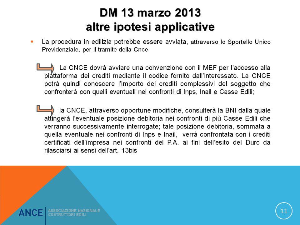 DM 13 marzo 2013 altre ipotesi applicative 11