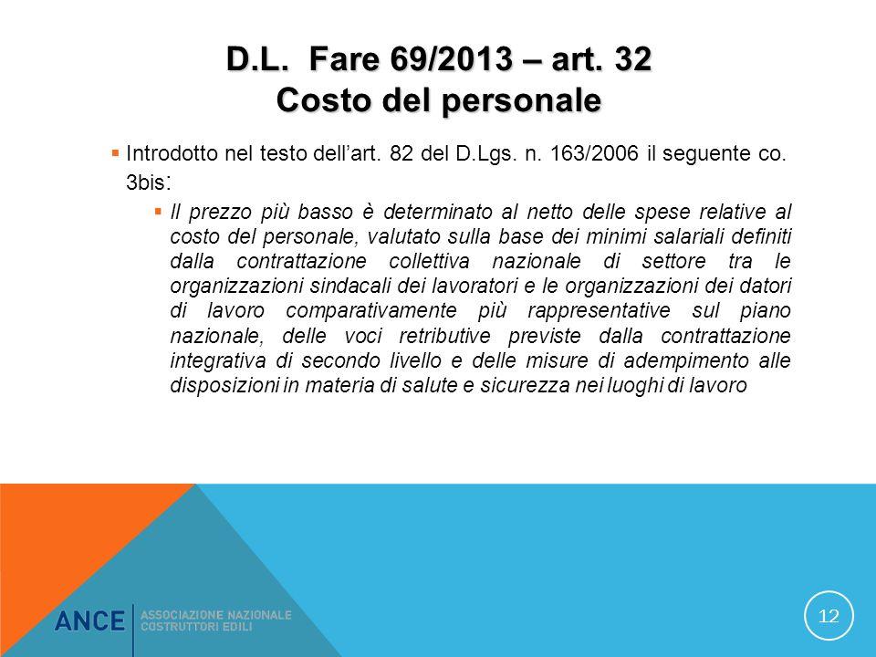 D.L. Fare 69/2013 – art. 32 Costo del personale Introdotto nel testo dellart.