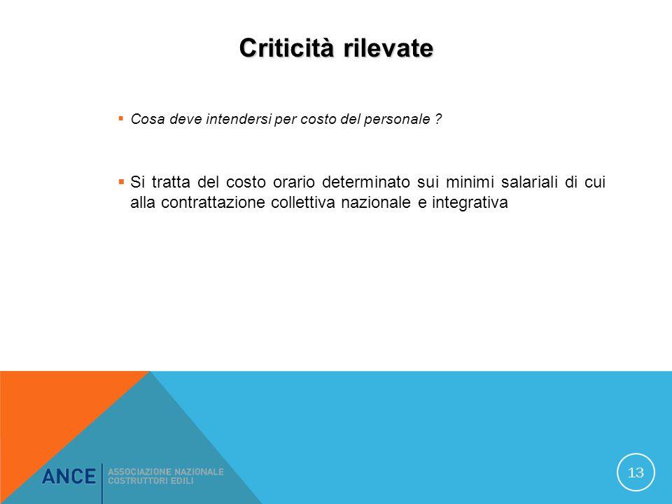 Criticità rilevate Cosa deve intendersi per costo del personale .