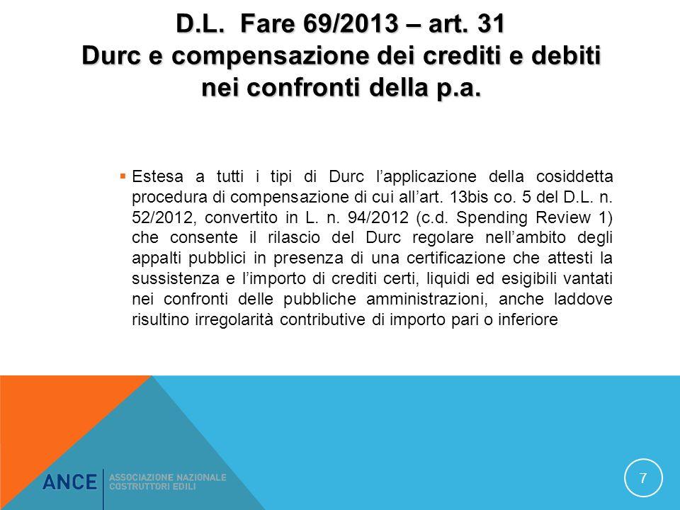 D.L. Fare 69/2013 – art. 31 Durc e compensazione dei crediti e debiti nei confronti della p.a.