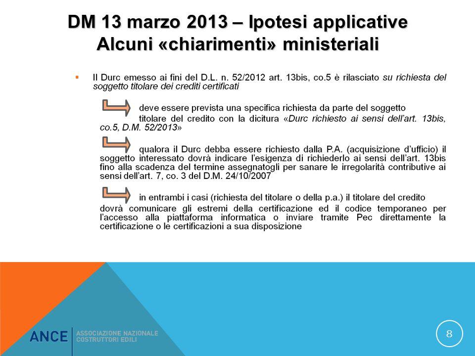 DM 13 marzo 2013 – Ipotesi applicative Alcuni «chiarimenti» ministeriali 8
