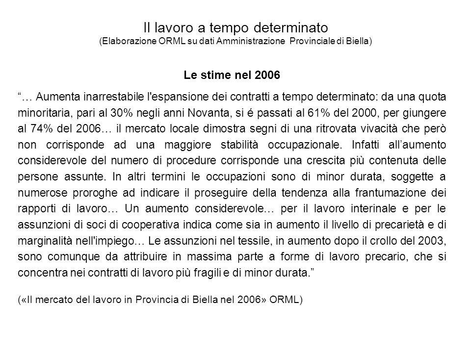Il lavoro a tempo determinato (Elaborazione ORML su dati Amministrazione Provinciale di Biella) Le stime nel 2006 … Aumenta inarrestabile l espansione dei contratti a tempo determinato: da una quota minoritaria, pari al 30% negli anni Novanta, si é passati al 61% del 2000, per giungere al 74% del 2006… il mercato locale dimostra segni di una ritrovata vivacità che però non corrisponde ad una maggiore stabilità occupazionale.