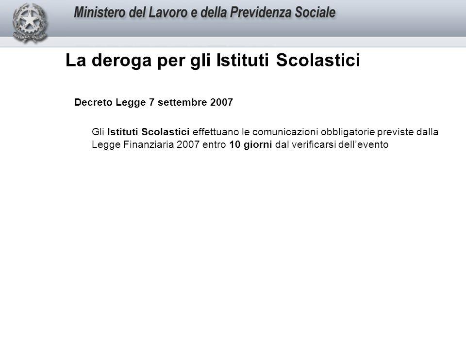 La deroga per gli Istituti Scolastici Decreto Legge 7 settembre 2007 Gli Istituti Scolastici effettuano le comunicazioni obbligatorie previste dalla Legge Finanziaria 2007 entro 10 giorni dal verificarsi dellevento