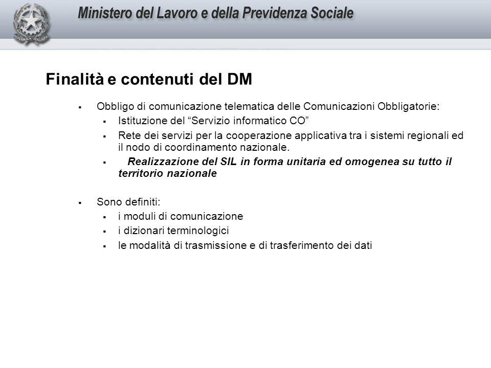 Finalità e contenuti del DM Obbligo di comunicazione telematica delle Comunicazioni Obbligatorie: Istituzione del Servizio informatico CO Rete dei servizi per la cooperazione applicativa tra i sistemi regionali ed il nodo di coordinamento nazionale.
