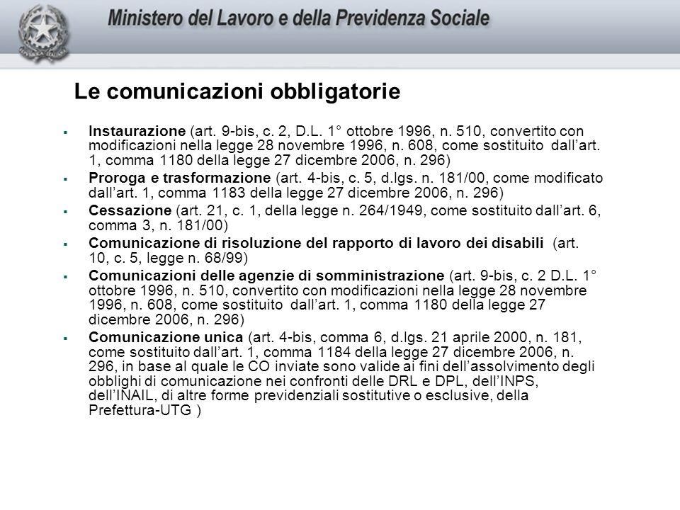 Le comunicazioni obbligatorie Instaurazione (art.9-bis, c.