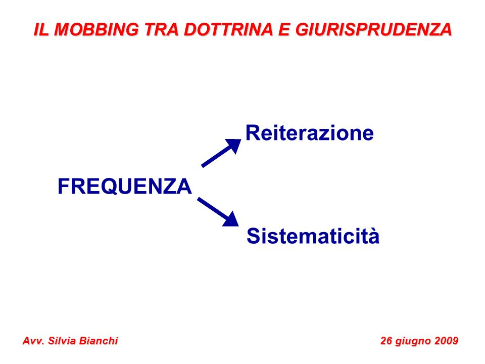 FREQUENZA Reiterazione Sistematicità IL MOBBING TRA DOTTRINA E GIURISPRUDENZA Avv. Silvia Bianchi 26 giugno 2009