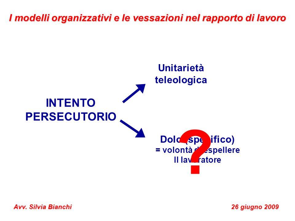 INTENTO PERSECUTORIO Unitarietà teleologica Dolo (specifico) = volontà di espellere Il lavoratore ? I modelli organizzativi e le vessazioni nel rappor