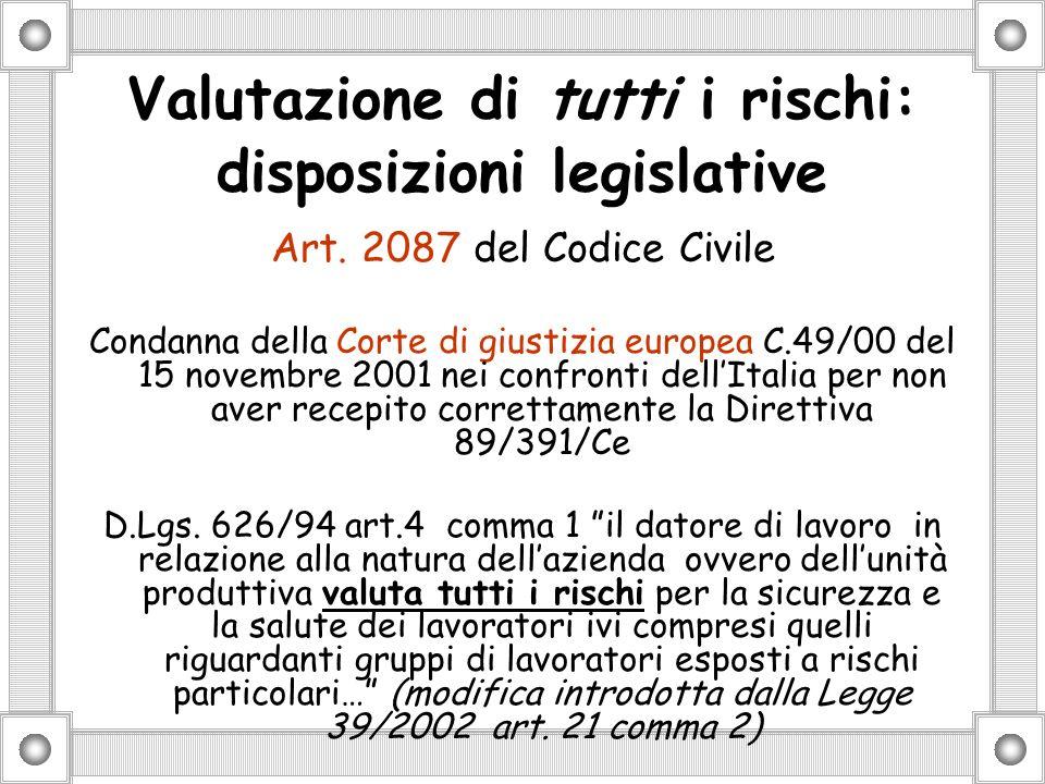 Valutazione di tutti i rischi: disposizioni legislative Art.
