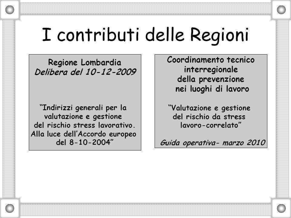 I contributi delle Regioni Regione Lombardia Delibera del 10-12-2009 Indirizzi generali per la valutazione e gestione del rischio stress lavorativo.