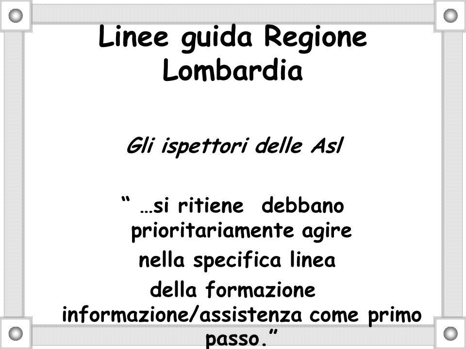 Linee guida Regione Lombardia Gli ispettori delle Asl …si ritiene debbano prioritariamente agire nella specifica linea della formazione informazione/assistenza come primo passo.