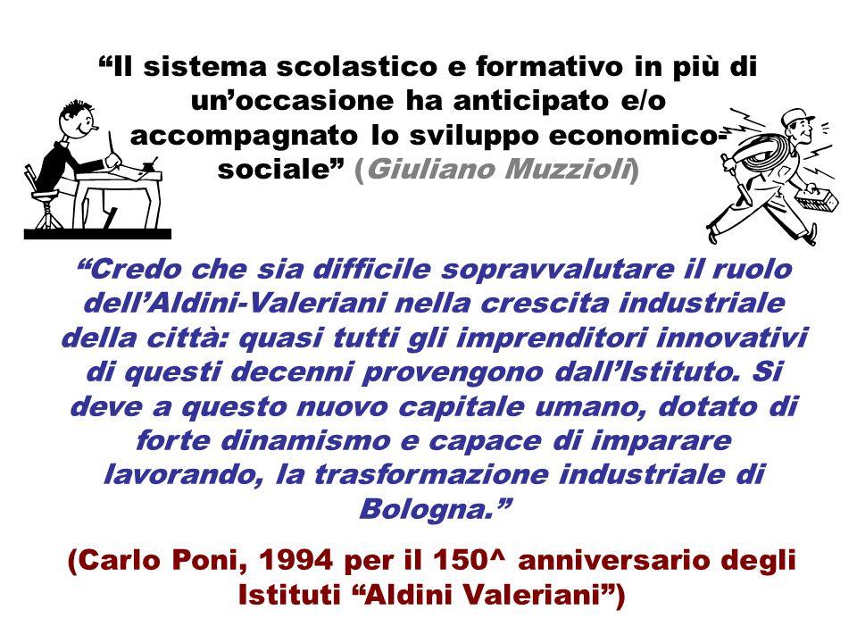 Credo che sia difficile sopravvalutare il ruolo dellAldini-Valeriani nella crescita industriale della città: quasi tutti gli imprenditori innovativi di questi decenni provengono dallIstituto.