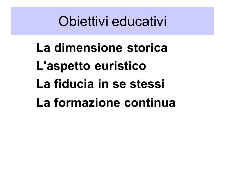 La dimensione storica L aspetto euristico La fiducia in se stessi La formazione continua Obiettivi educativi