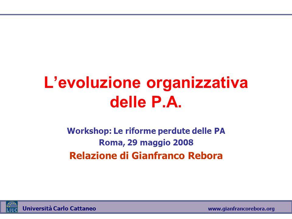 www.gianfrancorebora.org Università Carlo Cattaneo Levoluzione organizzativa delle P.A. Workshop: Le riforme perdute delle PA Roma, 29 maggio 2008 Rel