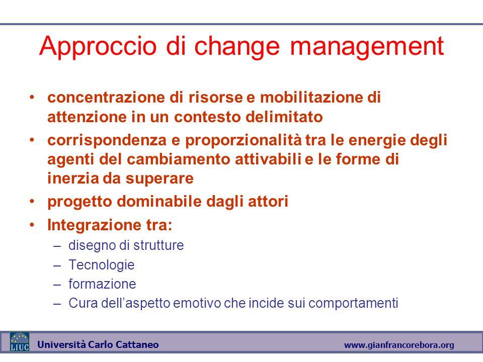 www.gianfrancorebora.org Università Carlo Cattaneo Approccio di change management concentrazione di risorse e mobilitazione di attenzione in un contes