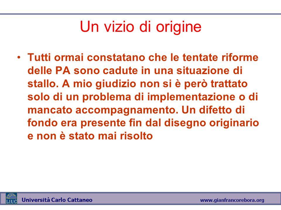 www.gianfrancorebora.org Università Carlo Cattaneo Un vizio di origine Tutti ormai constatano che le tentate riforme delle PA sono cadute in una situazione di stallo.