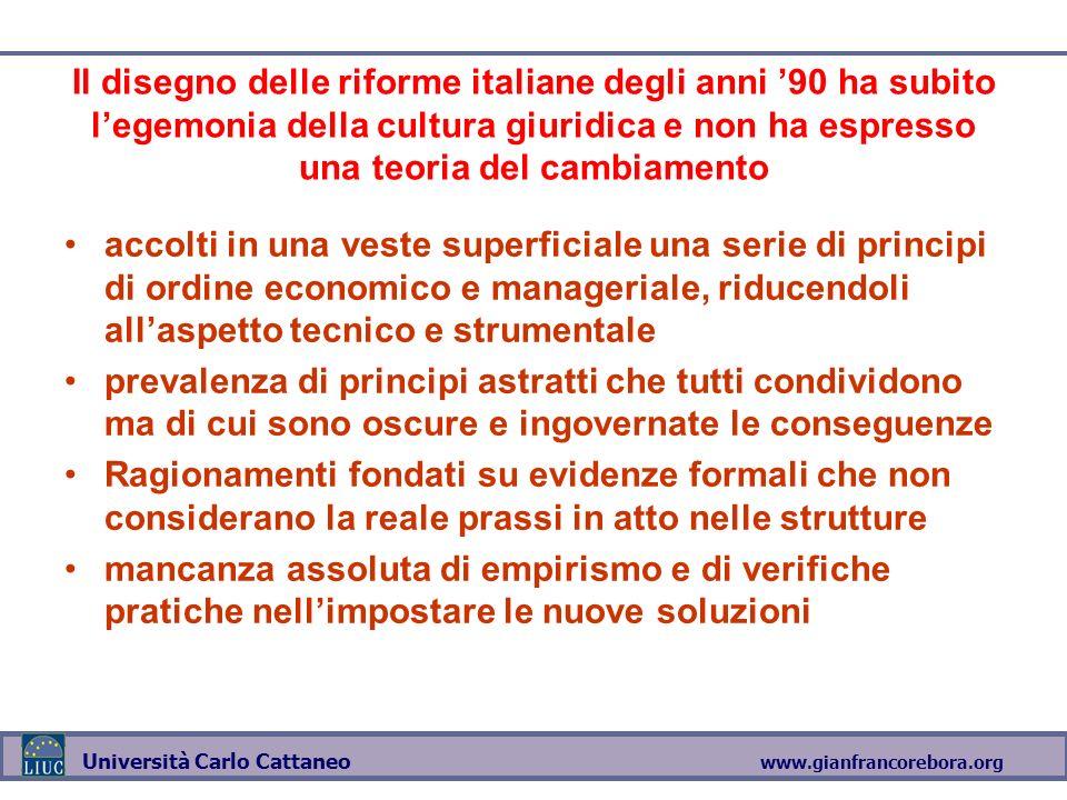 www.gianfrancorebora.org Università Carlo Cattaneo Il disegno delle riforme italiane degli anni 90 ha subito legemonia della cultura giuridica e non h